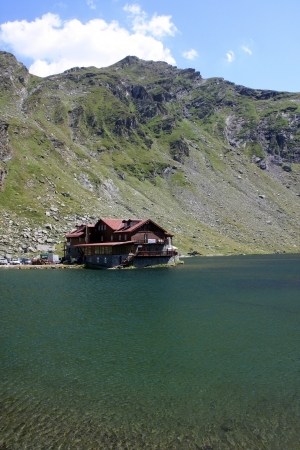 Chalet of Balea lake from Romania photo