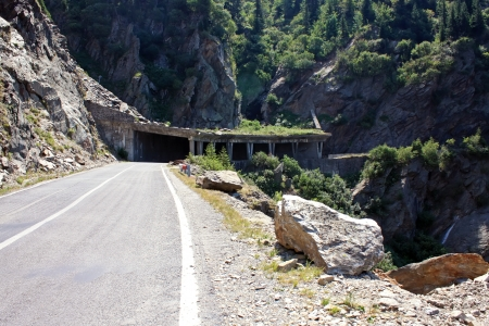 Mountain tunnel on Transfagarasan road, Romania photo