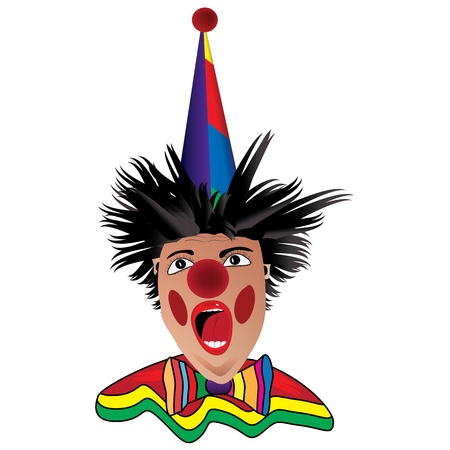 Graphic illustration of clown over white background Vector