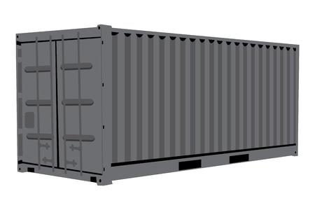 freight container: Ilustraci�n gr�fica del envase met�lico aislado sobre fondo blanco