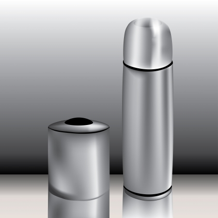 Graphic illustration of mug and thermos Vector