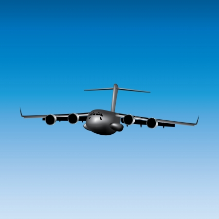 Graphic illustration of cargo airplane over blue sky Stock Vector - 15193571