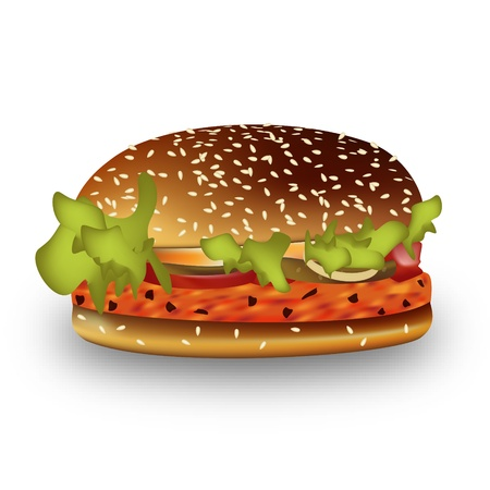 Graphic illustration of an juicy hamburger Vector