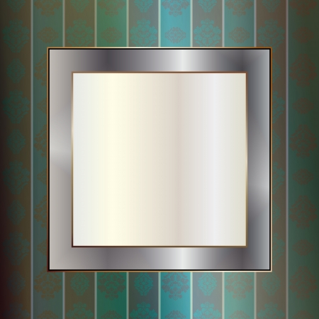 Graphic illustration of metallic frame over wall  Stock Vector - 14957888