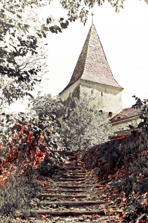 Sighisoara, Romania - 01.09.2012 - Secular tower from old part of Sighisoara fortress Editorial