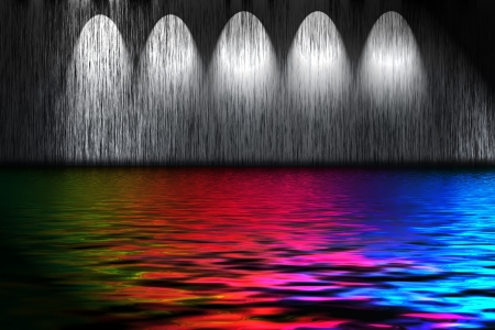 Abstract background with spectral water and wall illuminated with spot light Stock Photo - 15124295