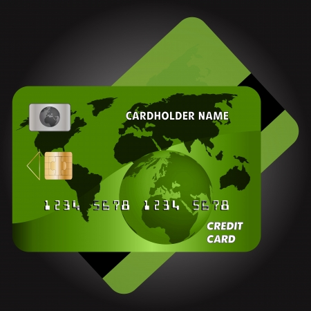 Graphic illustration of green credit card Vector