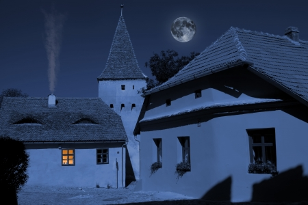 Exterior of ghostly corner from medieval city under the moonlight Stock Photo - 15374714
