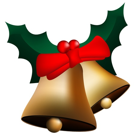 Graphic illustration of christmas bells with red bow