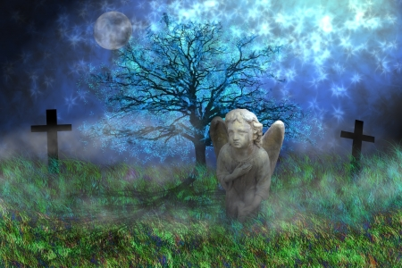 Stone angel with wings sitting on the mossy grass in fantasy landscape  photo