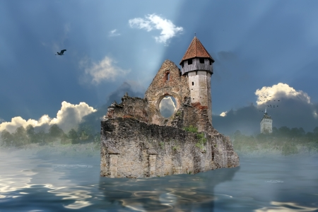 Scene with old ruins on water  Stock Photo