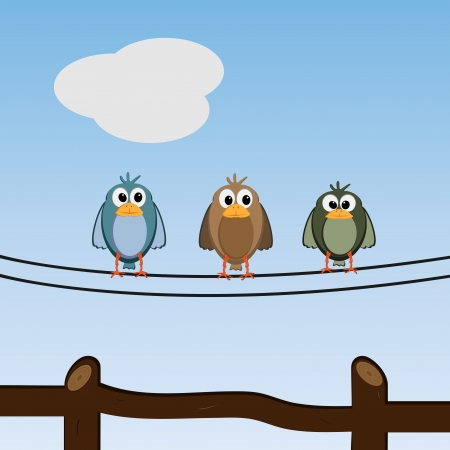 Graphic illustration of cute and lovely birds relaxing outdoors Vector