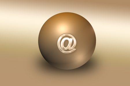 Graphic illustration of golden ball with mail sign on top Stock Illustration - 15860208