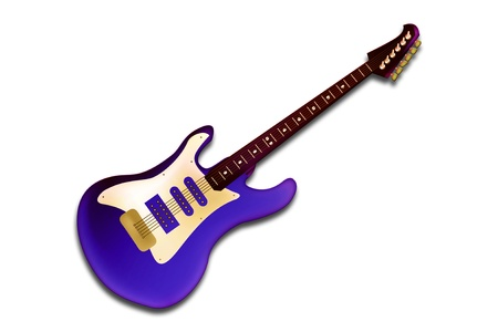 electric hole: Graphic illustration of electric guitar isolated over white background Stock Photo