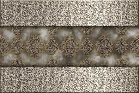 Two metallic vintage labels over patterned wallpaper Stock Photo - 15964027
