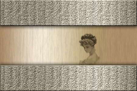 Vintage golden wallpaper with victorian woman silhouette on top photo