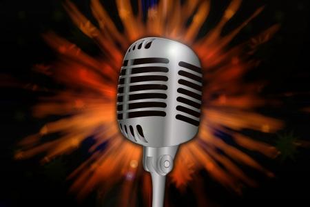 Retro microphone over explosive background