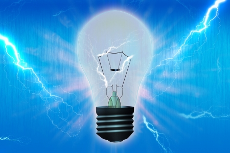 inventiveness: Light bulb over blue background Stock Photo