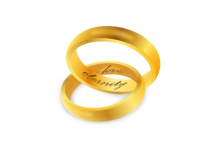 Linked gold wedding rings over white background photo