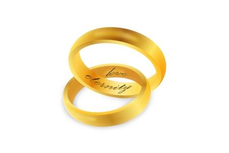 Linked gold wedding rings over white background Stock Photo - 16067061