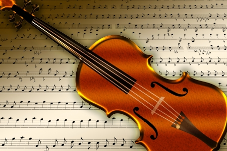 Scene with violin over note and paper background Stock Photo - 16177914