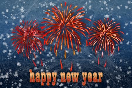 Background with firework and happy new year greeting Stock Photo - 16262320
