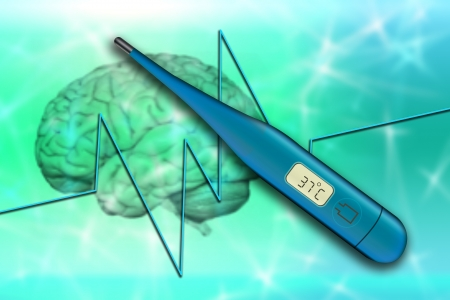 Medical background with thermometer over abstract shapes Stock Photo - 16894488