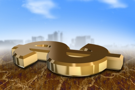 3d gold dollar sign in the front of a big city Stock Photo - 17109316