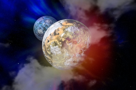 Scene with planet with moon in a free space Stock Photo - 17218489
