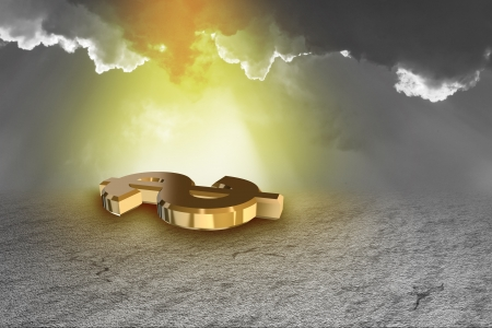 incandescent: 3d gold dollar sign with incandescent background