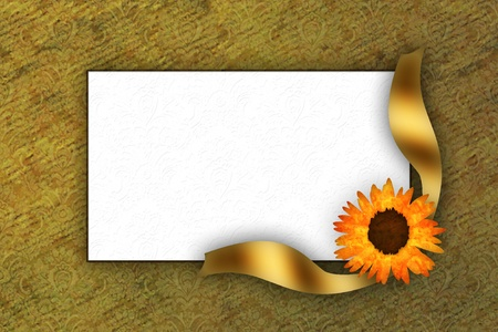 Greeting card for invitation with flower and golden bow Stock Photo - 17308170