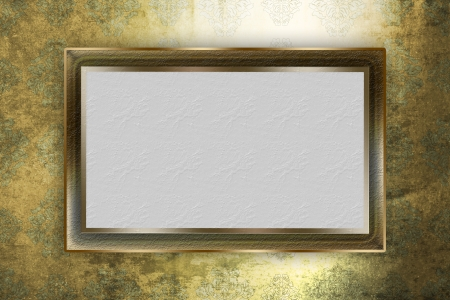Golden frame over grunge background photo