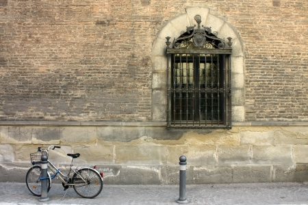 Antique bicycle on streets of Bologna, Italy photo