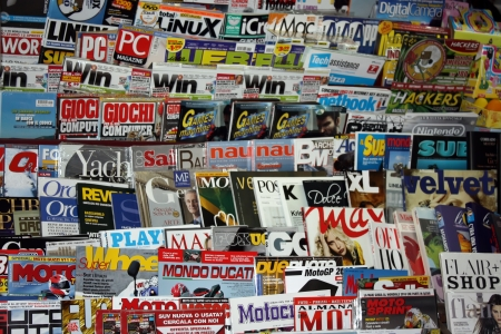 Bologna, Italy - 11.04.2010 - Magazine and newspaper stand on streets of Bologna Editorial