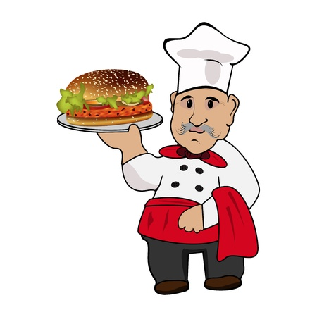 Graphic illustration of an chef cook with hamburger on plate Vector