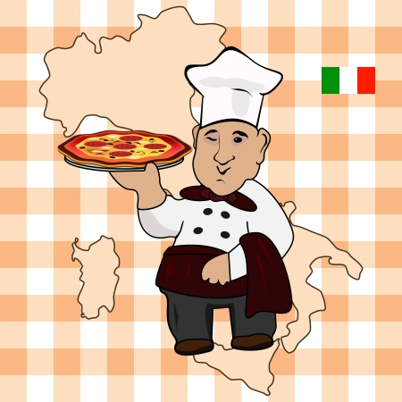 Graphic illustration of an chef cook with pizza on plate Vector