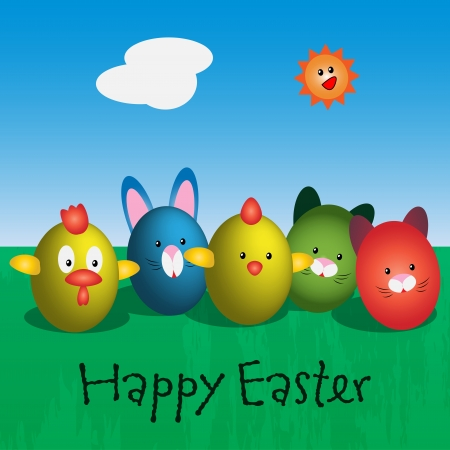 Graphic illustration of easter eggs characters on green meadow Stock Vector - 17969172