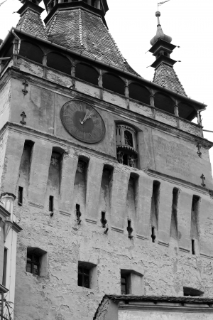 Sighisoara, Romania - 01.04.2013 - Black and white scene of clock tower from Sighisoara citadel