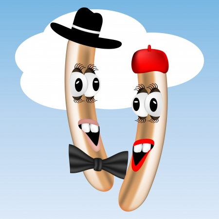 Graphic illustration of two frankfurter characters Vector