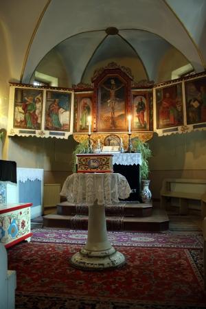 secular: Satu Nou, Romania - 29.06.2013 - Secular altar from gothic church of Satu Nou