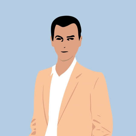 dark haired: Dark haired young man illustration Illustration