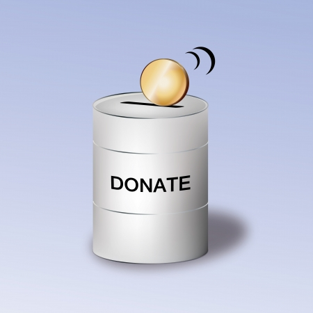 contribute: Graphic illustration of donation container with coin on top