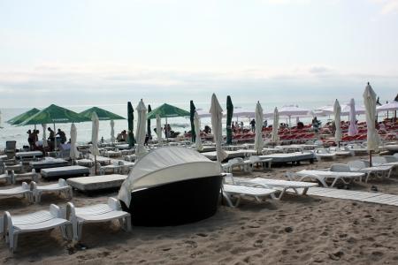 neptun: Beach Chairs and Umbrellas at Neptun, Romania