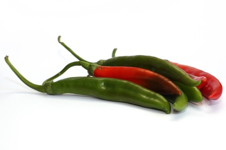 Group of red hot chili pepper isolated on white background Stock Photo
