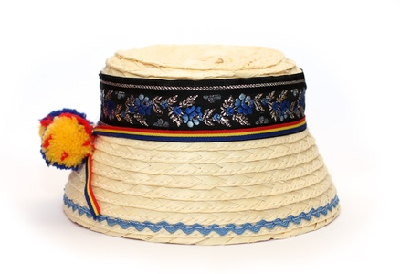 clop: Traditional romanian straw hat isolated on white  background