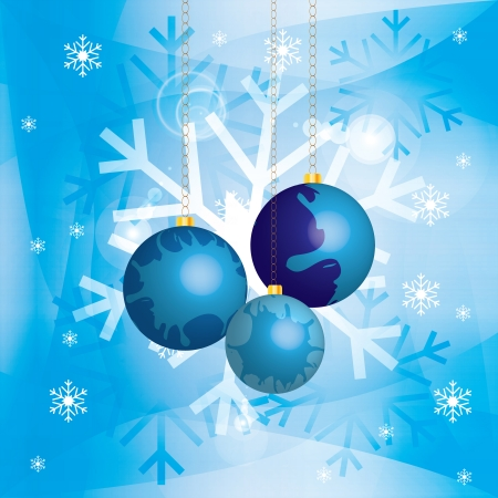 Christmas background with baubles and golden chains in snow Vector