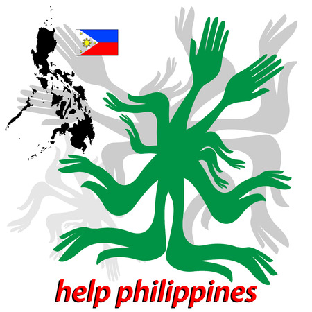 Allert message to help Philippines after typhoon disaster Illustration