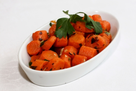 Carrot salad with herbs, oil and parsley