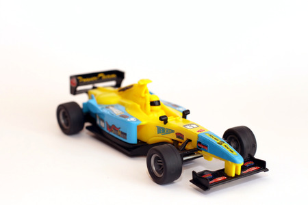 Miniature model of racing toy car photo
