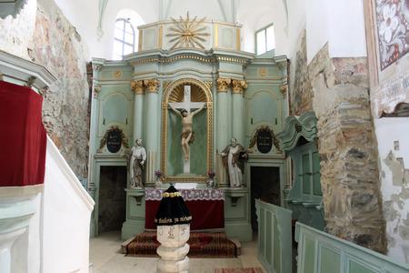 secular: Bunesti, Romania - 09 05 2014 - Frontal view of secular altar from evangelical church Editorial